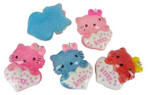 Resin Hello Kitty Heart Gem Flatbacks Scrapbooking Embellishments Supplies Trim Craft Cabochon Appliques Hair Alligator Clips Hello Kitty Gems