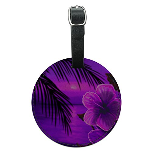 - Graphics & More Beach Sunset Hibiscus Flower Hawaiian Purple Round Leather Luggage Id Tag, Black