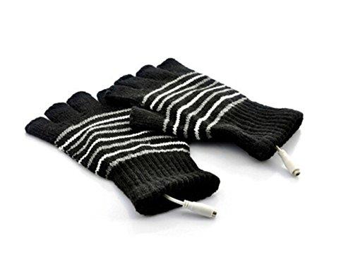Elandy 1 Pair(2PCS) Winter Stripe Pattern USB2.0 Heated Fingerless Heating Knitting Hands Warm Gloves Gloves (Black)-Best Xmas Gift