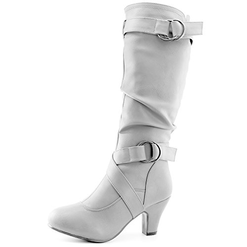 Dailyshoes Women's Slouchy Mid Calf Strappy Boots with Ankle and Top Straps - 2