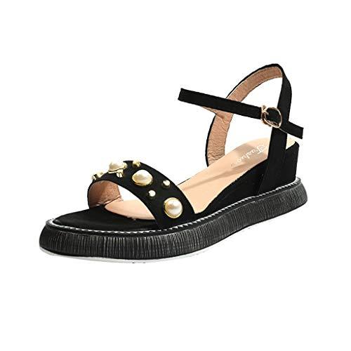 Orangeskycn Women Sandals Summer Wild Platform Bottom Retro Roman Strappy Sandals Pearl Wedge Open Toe Casual Shoes Black by Orangeskycn Women Sandals (Image #6)
