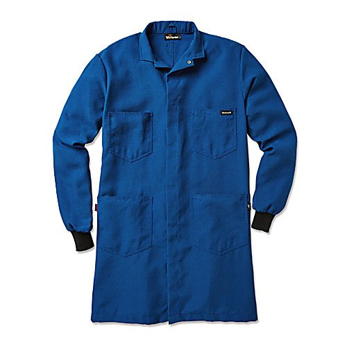 Workrite Uniform 357NX45RBMD 0R Flame-Resistant Lab Coat with Knit Cuffs, Medium Size, 4.5 oz. Nomex IIIA Fabric, Royal Blue ()