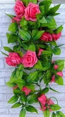 Decoración para jardín, guirnalda de hiedra artificial de seda con rosas para decoración de San Valentín, Big-rose: Amazon.es: Deportes y aire libre