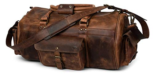 Genuine Buffalo Leather Duffle Bag | Roosevelt by Buffalo Jackson | 23-Inch Perfect Size for Weekend, Overnight Travel | Color: Dark Oak
