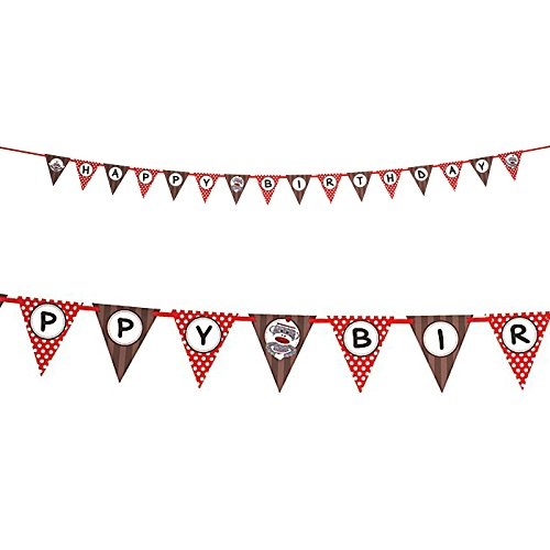 BirthdayExpress Sock Monkey Party Supplies - Flag Ribbon Banner -