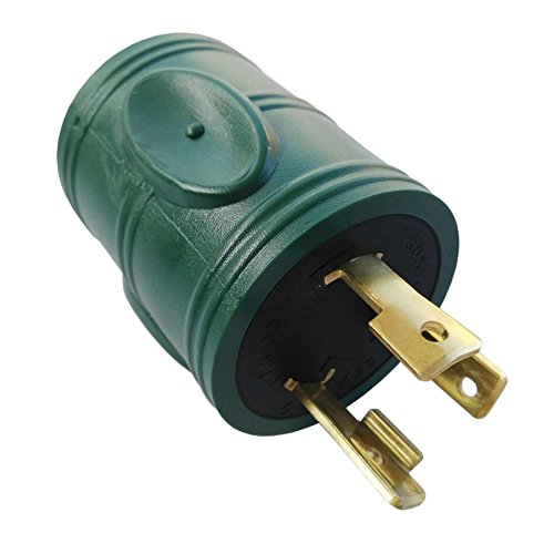 Price comparison product image Parkworld 884968 Generator Adapter 30 AMP 3-Prong Locking L5-30P Plug to 4-Prong Locking L14-30R Receptacle (two hots bridged)