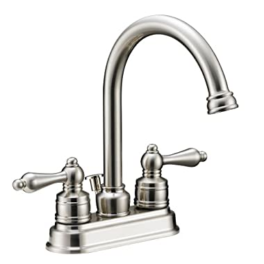 Designers Impressions 617429 Satin Nickel Two Handle Lavatory Bathroom Vanity Faucet - Bathroom Sink Faucet with Matching Pop-Up Drain Trim Assembly