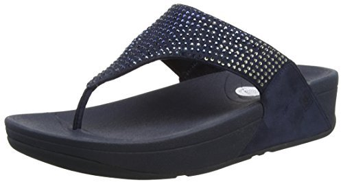 (FitFlop Flare Women's Rhinestone Thong Wedge Sandals Navy Size 9)