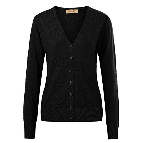 - Panreddy Women's Wool Cashmere Classic V Neck Cardigan Sweater Black M