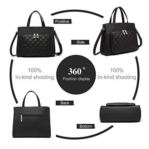 Miss Lulu handväskor axelväska för kvinnor crossbody messengerväska topphandtag mode PU-läder quiltad shoppingarbete