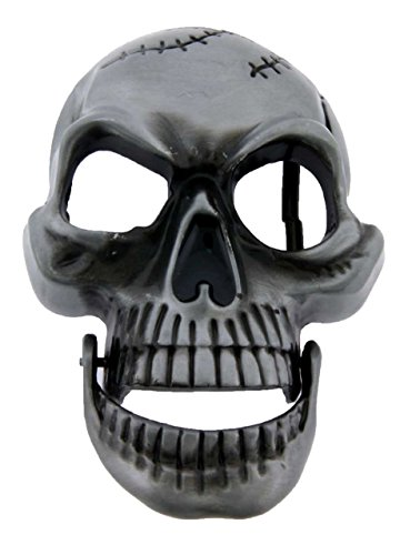 Skull with Moveable Jaw Pewter Belt Buckle