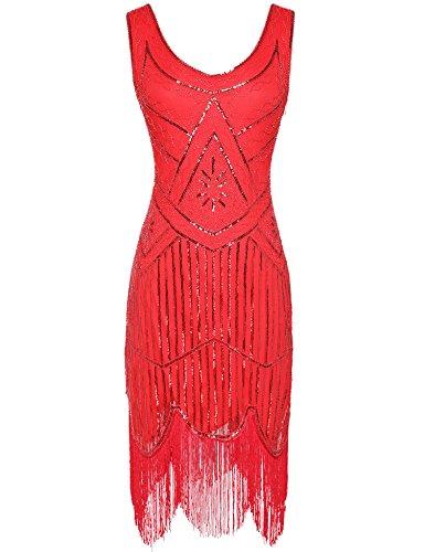 Women's 1920s Dress V Neck Sequin Beaded Fringed Flapper Cocktail Dress (Red, M)