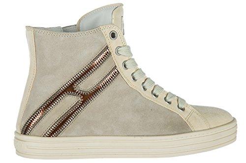 Hogan Rebell Kvinnor Skor Kick Bästa Mocka Utbildare Sneakers R141 Beige