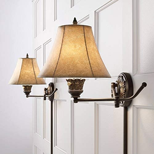 Rosslyn Rustic French Country Swing Arm Wall Lamps Set of 2 Bronze Plug-in Light Fixture Faux Leather Bell Shade