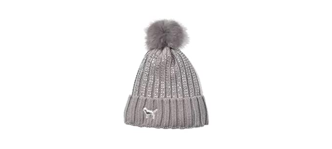 e490c85f4c3c7 Image Unavailable. Image not available for. Color  Pink Victoria s Secret  Sherpa Lined Beanie Pom-Pom Hat Gray