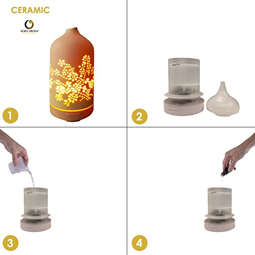 KOKO Diffuser Aromatherapy Best Floral Infuser 120mL 7 LED Cool Mist Defuser Auto Office Baby Yoga
