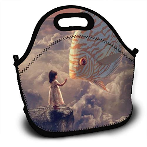Tidyki Lunch Bag Box Leakproof Neoprene Insulated Reusable Thermal Lunch Cooler Tote with Shoulder Strap for Boys Men Women Adults Kids Work Office School Outdoor Fish Sky Girl Anime