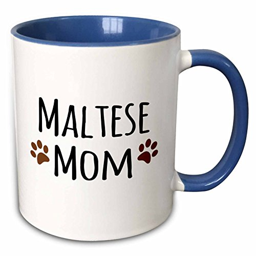 "3dRose mug_154156_6 ""Maltese Terrier Dog Mom Doggie by breed muddy Brown Paw Prints doggy Lover"" Two Tone Blue Mug, 11 oz, Blue/White"