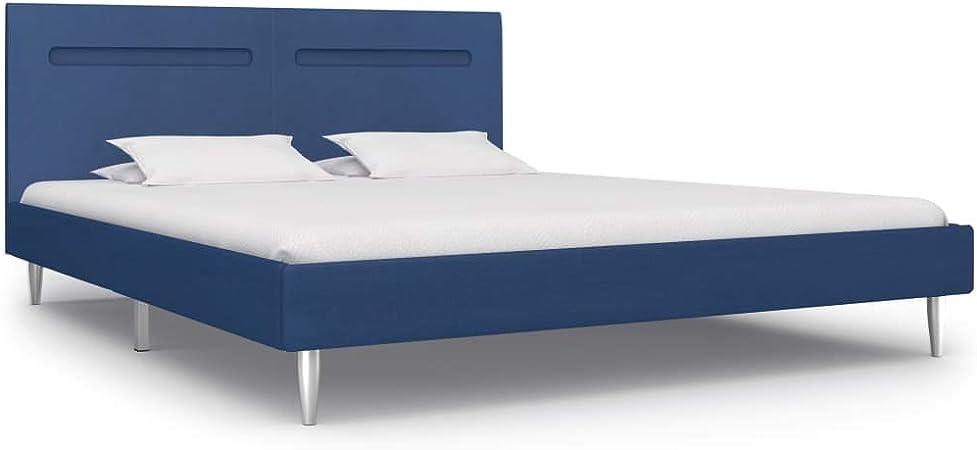 vidaXL Cama tapizada con LED clásica de tela, cama de matrimonio, cama doble, somier de láminas, cama de dormitorio, tela azul, 180 x 200 cm