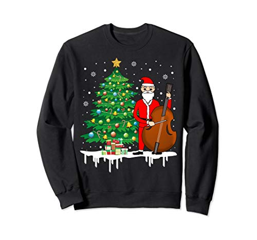 Santa Claus Playing Cello Nearby Christmas Tree Sweatshirt