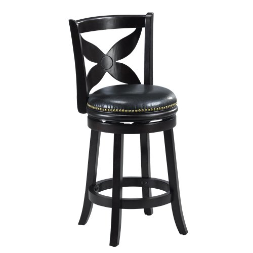 Mintra Black Finish Floral Back 24 Inch Swivel Counter Stool Home