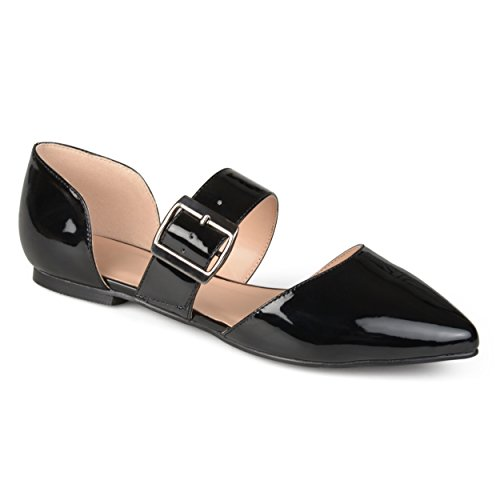 Journee Collection Womens Faux Leather Buckle Flats Black, 8.5 Regular US