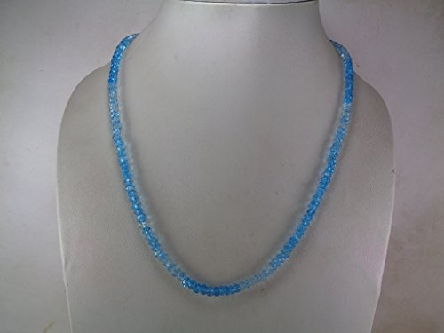 Faceted Genuine Shaded Blue Topaz Beads Necklace, 16 Inches Necklace, November Birthstone Jewelry, 925 Sterling Silver Lock (Blue Topaz Bead Necklace)