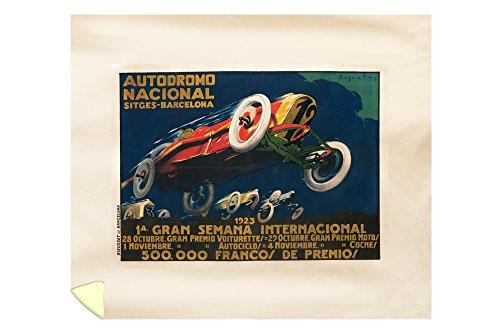 Autodromo Nacional Vintage Poster (artist: Segrelles) Spain c. 1923 (88x104 King Microfiber Duvet Cover) by Lantern Press