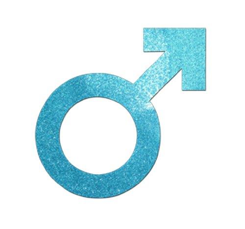 Blue 1 X 3 Inch Fabric Glitter Malefemale Symbol Iron On Amazon