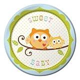 8-Count Round Paper Dessert Plates, Happi Tree Sweet Baby Boy