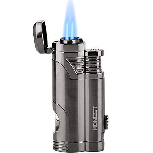 Torch Lighter Turbo Dual Jet Flame Refillable Butane Lighter Windproof Gas Fluid Lighter -Butane Not Included