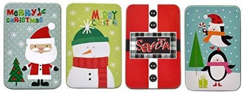 Christmas Gift Card Tin Holders (Set of - Tin Card Set