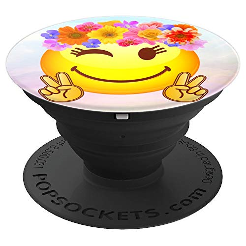 Hippie Flower Power Crown Smiley Peace Sign Emoji - PopSockets Grip and Stand for Phones and Tablets]()