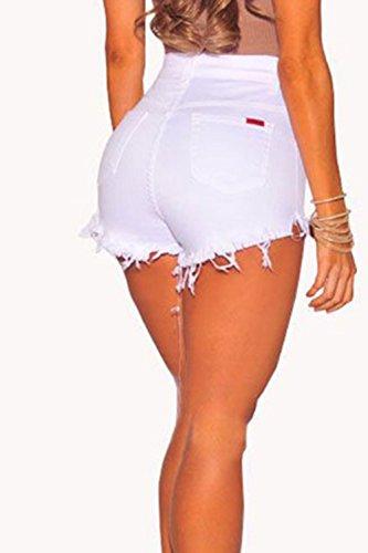 De Botones Jeans OFF Mujer blanco La Pantalones Cierre Por Alta Denim Cintura CUT Hot q8xtwx7a