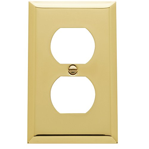 Baldwin Duplex Switchplate - Baldwin Estate 4752.030.CD Square Beveled Edge Duplex Wall Plate in Polished Brass, 4.5