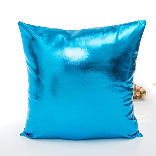 DEESEE(TM)Solid Glitter Sequins Pillow Case Cafe Waist Throw Cushion Covers (Sky Blue)