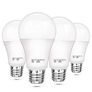 Dusk to Dawn Light Sensor Bulbs, A19 12W(100 Watt Equivalent) LED Auto On Off Light Bulbs, 1200 Lumens, E26 Base, Warm White 3000K LED Smart Sensor Lights Outdoor Indoor for Porch Garage Yard, 4-Pack