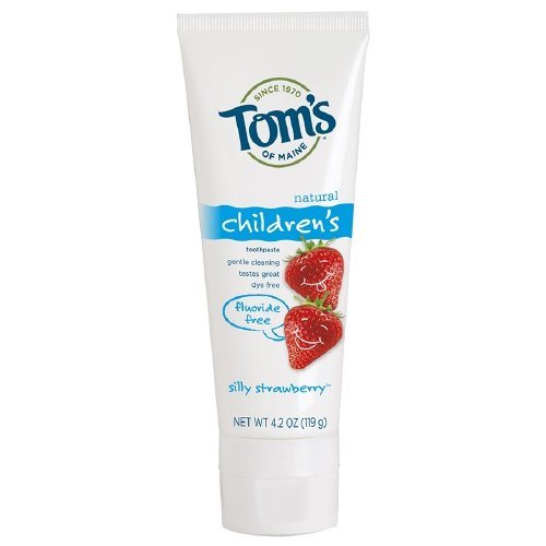 Tom's Of Maine Natural Children's Fluoride Free Toothpaste, Silly Strawberry 4.20 oz (Pack of 4) - Fluoride Silly Strawberry