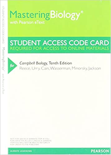 Masteringbiology With Pearson Etext Valuepack Access Card For