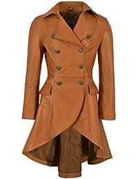 Edwardian Back Buckles Ladies Women Tan Washed Real Leather Jacket Coat Gothic 3491