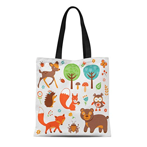 Semtomn Canvas Tote Bag Shoulder Bags Squirrel Woodland Funny Forest Animals Collection Creature Bird Cartoon Women's Handle Shoulder Tote Shopper Handbag
