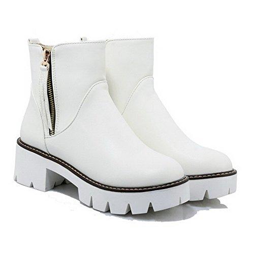 Low Zehe Stiefel Weiß geschlossene AgooLar Runde Zipper Heels Kitten Frauen Top Solid gc4AAqF5w