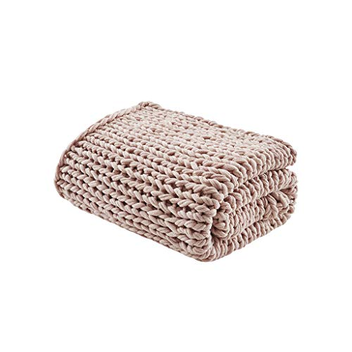 - Madison Park Handmade Chunky Double Knit Throw Blush 50
