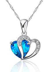 925 Sterling Silver Heart Shape Pendant Necklace Incld 925 Sterling Silver Singapore Chain '18 Inch
