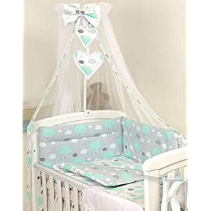10 PCS PRO COSMO Bedding Set Baby COT Bed/COT Quilt Bumper Canopy +Holder (to fit cot Bed Size 140x70cm, Mint Clouds)