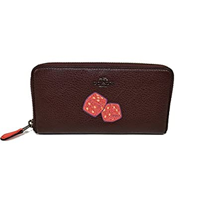 Coach Accordion Leather Zip Dice Motif Clutch Wallet Oxblood