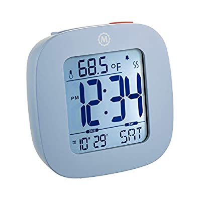 MARATHON CL030058BL Compact Alarm Clock with with Snooze, Light Feature, Temperature and Date - Blue - Batteries Included - EASY TO SET- Large and easily accessible primary buttons. Hold the top red alarm button for 3 seconds to activate and set the alarm time COMPACT- Compact and lightweight, measuring in at 3.1 x 1 x 3 in (L x W x H). LIGHT- Super illumination cool blue backlight. Button activated backlight is gentle on the eyes while providing maximum illumination. Display remains illuminated for approximately 5 seconds. - clocks, bedroom-decor, bedroom - 41itHajHYkL. SS400  -