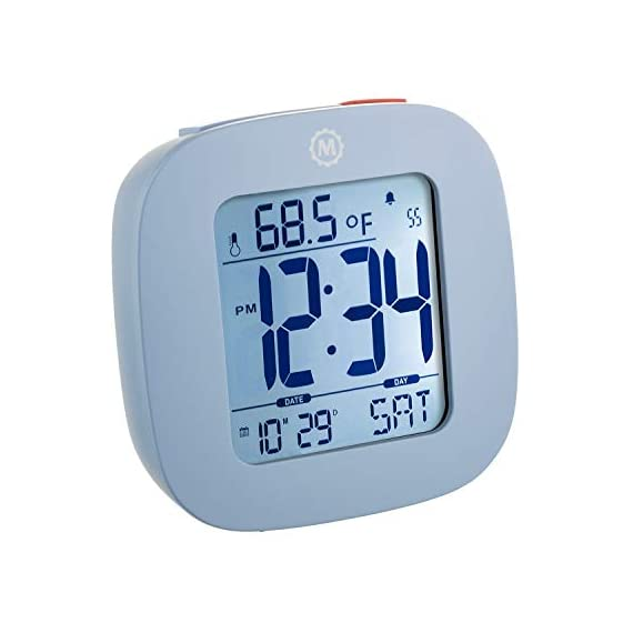 MARATHON CL030058BL Compact Alarm Clock with with Snooze, Light Feature, Temperature and Date - Blue - Batteries Included - EASY TO SET- Large and easily accessible primary buttons. Hold the top red alarm button for 3 seconds to activate and set the alarm time COMPACT- Compact and lightweight, measuring in at 3.1 x 1 x 3 in (L x W x H). LIGHT- Super illumination cool blue backlight. Button activated backlight is gentle on the eyes while providing maximum illumination. Display remains illuminated for approximately 5 seconds. - clocks, bedroom-decor, bedroom - 41itHajHYkL. SS570  -