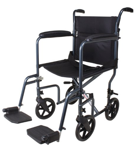 (Carex Lightweight Transport Wheelchair - 19 Inch Seat - Folding Transport Chair for Adults - Aluminum - 8 Inch Wheels)