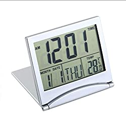 Yuniroom Folding Alarm Clock LCD Digital Home Travek Clocks Thermometer Timer Calendar Clock